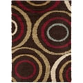 Swirls Brown Contemporary Area Shag Rug (2' x 3')