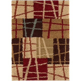 Lines N' Squares Brown Contemporary Area Shag Rug (7'10 x 9'10)