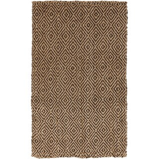 Hand-woven Diamond Jute Coffee Bean Natural Fiber Rug (5' x 8')