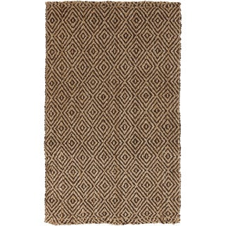 Hand-woven Diamond Jute Coffee Bean Natural Fiber Rug (2' x 3')