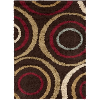 Swirls Brown Contemporary Area Shag Rug (5'3 x 7'3)