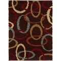 Brown Ovals Brown Contemporary Area Shag Rug (7'10 x 9'10)