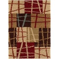 Lines N' Squares Brown Contemporary Area Shag Rug (2' x 3')