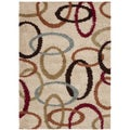 Vanilla Ovals Putty Contemporary Shag Rug (3' x 5')