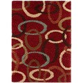 Red Ovals Cumin Contemporary Shag Rug (2' x 3')