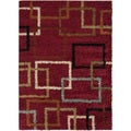Squares Venetian Red Contemporary Shag Rug (7'10 x 9'10)