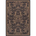 Recife Garden Cottage Black/ Cocoa Runner Rug (2'3 x 7'10)