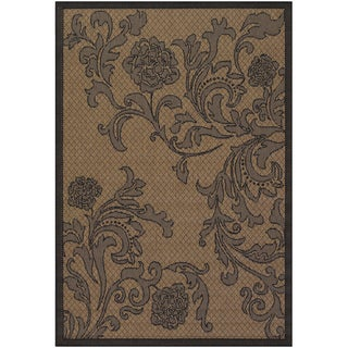 Recife Rose Lattice Cocoa/ Black Rug (5'3 x 7'6)