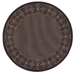 Recife Summer Chimes Cocoa and Black Area Rug (7'6 Round)