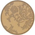 Recife Rose Lattice Natural and Cocoa Area Rug (7'6 Round)