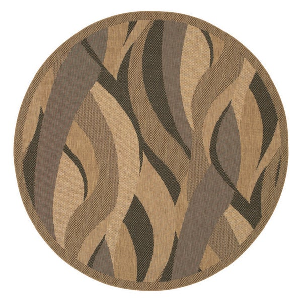 Recife Seagrass Natural and Black Area Rug (7'6 Round)