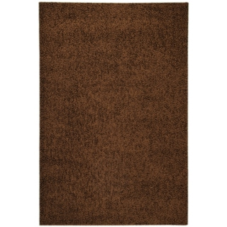 Soft Shag Contemporary Solid Brown Rug (3'3 x 4'7)