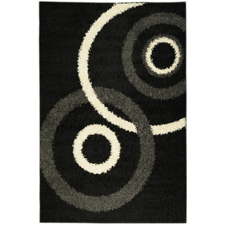 Soft Shag Contemporary Circles Black Rug (5' x 7')
