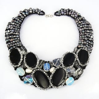 Midnight Sensation Agate Moon Mix Stone Collar Necklace (Thailand)