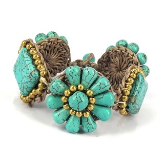 Chic Flower and Square Shape Turquoise Medley Bracelet (Thailand)