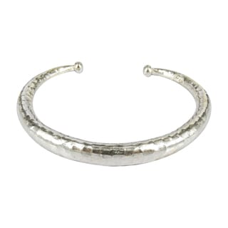 Simplicity Hammered Karen Hill Tribe Silver Adjustable Cuff (Thailand)