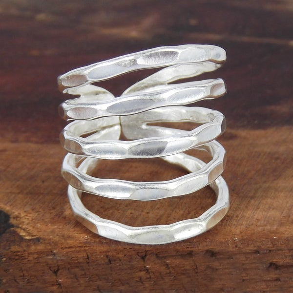 Hill Tribe Horizons Hammered Fine Handmade Silver Ring (Thailand)