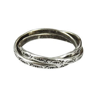 Fish Adorned Tribal Paths Triple Connected Silver Ring (Thailand)