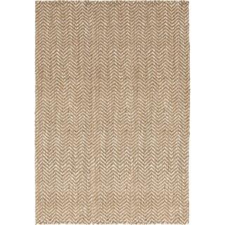 Hand-Woven Wheat Jute Tan Natural Fiber Chevron Rug (3'3 x 5'3)
