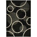 Soft Black Contemporary Circles Shag Area Rug (5' x 7')
