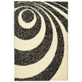 Soft Shag Contemporary Abstract Circles Ivory Rug (5' x 7')