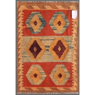 Afghan Hand-knotted Mimana Kilim 2'1 x 3' Red/ Brown Wool Area Rug (Afghanistan)