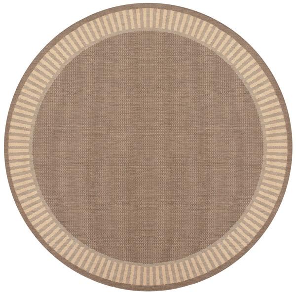 Recife Wicker Stitch Cocoa/ Natural Rug (8'6 Round)