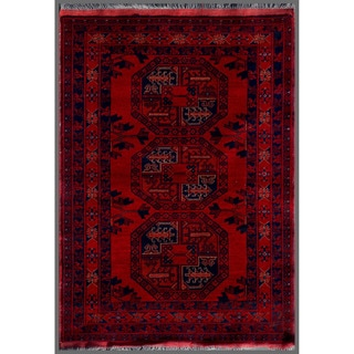 "Afghan Hand-Knotted Khal Mohammadi Traditional Red/Navy Wool Rug (3'4"" x 4'9"")"