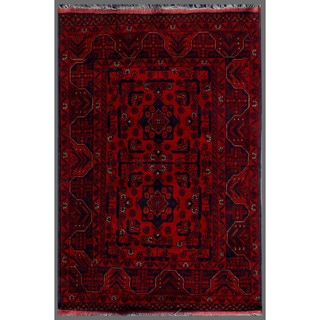 Afghan Hand-Knotted Khal Mohammadi Red/Navy Indoor Wool Rug (3'4 x 4'10)
