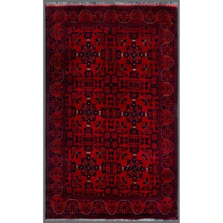 Afghan Hand-knotted Khal Mohammadi Red/ Navy Wool Rug (4'1 x 6'6)
