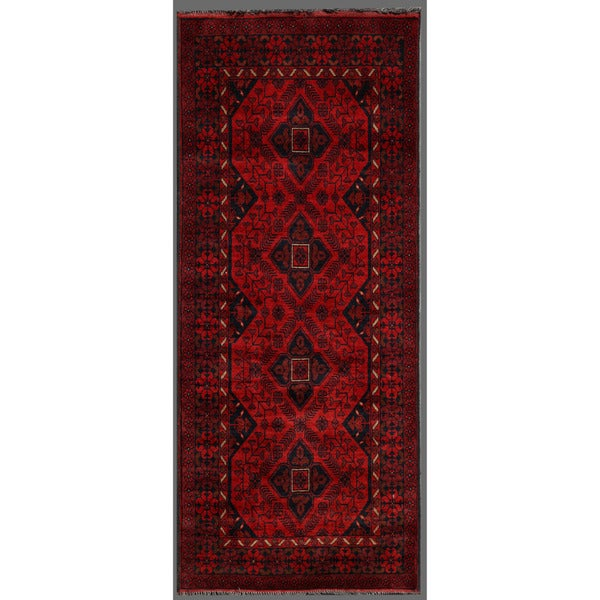 Afghan Hand-knotted Khal Mohammadi Red/ Navy Wool Rug (2'8 x 6'4)