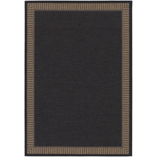 Recife Wicker Stitch Black/ Cocoa Rug (2' x 3'7)