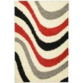 Soft Shag Contemporary Abstract Waves Grey Rug (5' x 7')