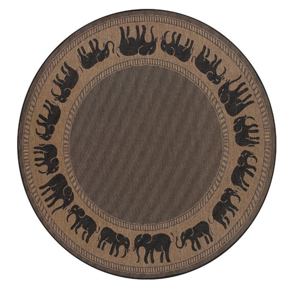 Recife Elephant Cocoa/ Black Rug (7'6 Round)