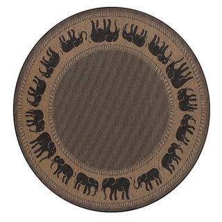 Recife Elephant Cocoa/ Black Rug (8'6 Round)