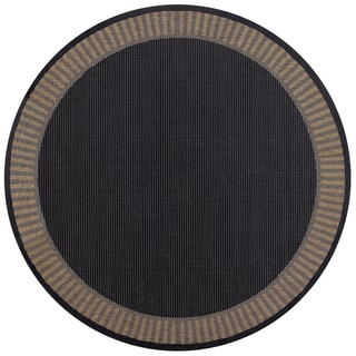 Recife Wicker Stitch Black and Cocoa Rug (7'6 Round)