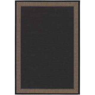 Recife Wicker Stitch Black and Cocoa Rug (7'6 x 10'9)