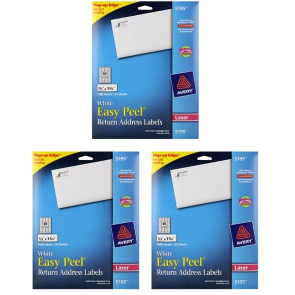 Avery Easy Peel White Return Address Labels (3 Packs of 1500)