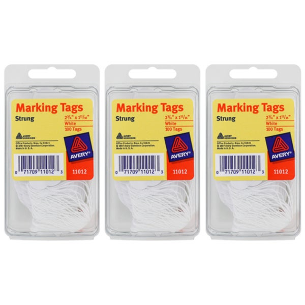 Avery White Strung Marking Tags (3 Packs of 100)