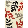 Soft Shag Contemporary Abstract Leaves Ivory Area Rug (5'0 x 7'0)