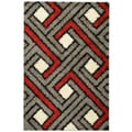 Soft Shag Contemporary Abstract Boxes Grey Area Rug (3'3 x 4'7)