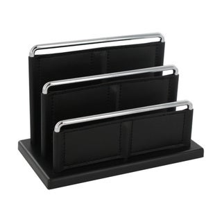 Rolodex 3-Tier Black & Chrome Letter Holder Desk Tray