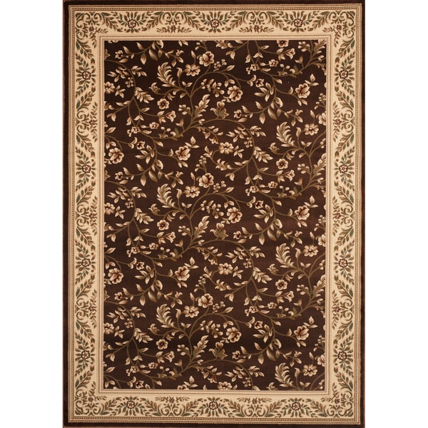 Machine Made Brown Floral Rug (5'3 x 7'4) - 5'3 x 7'4 10639865