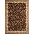 Machine Made Brown Floral Rug (5'3 x 7'4)