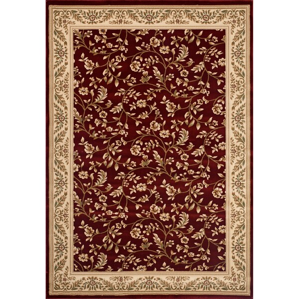 Woven Wilton Red Oriental Floral Rug