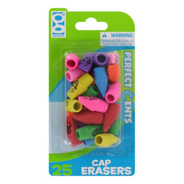 Perfect Cents Assorted Color Cap Erasers (Pack of 25)
