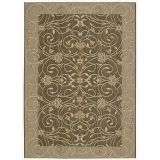 Eclipse Scrolling Vine Brown Rug (7'10 x 10'10)