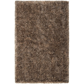 Hand-woven Brown Plush Shag Rug (5' x 8')
