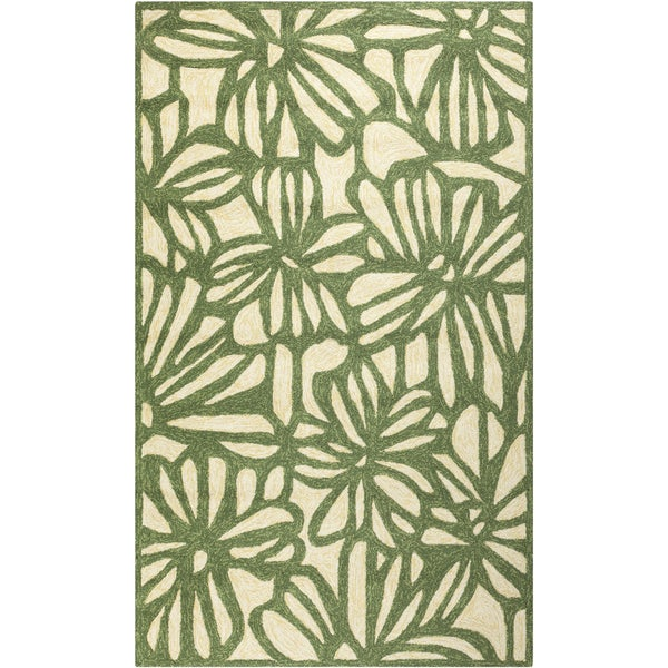 Hand-hooked Green Flowers Indoor/Outdoor Rug (8' x 10'6)