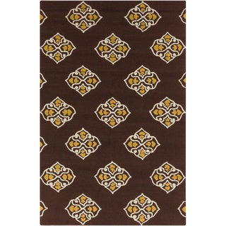 Hand-hooked Stencil Coffee Bean Indoor/Outdoor Rug (3'3 x 5'3)